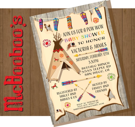 tribal american indian baby shower invitations with feathers, Baby shower