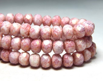 8x6mm Pink and White Czech Beads, Pink Beads, White and Pink Beads, Pink Crystal Beads, Glass Beads Rondell Beads, Faceted Beads, T-78C