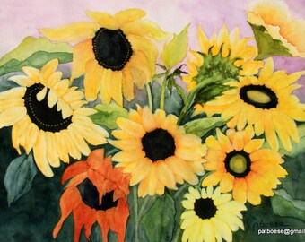 Sunflower Garden is an archival matted print of an original watercolor painting