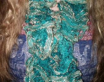 Pretty ruffle scarf made with Sashay Boho yarn Envy