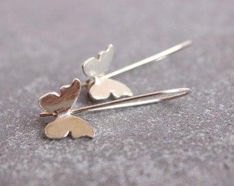 Silver Butterfly Earrings - Sterling Silver Butterfly Earrings - Butterfly Jewelery - Delicate Butterfly Earrings