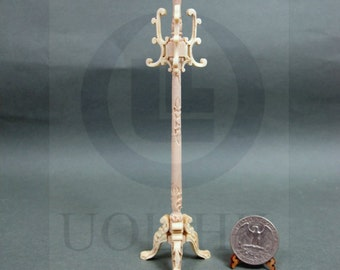 1:12 Scale Miniature Carved Coat Stand For Doll House [Unpainted]