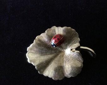 14K Gold and Enamel Ladybug on Leaf Brooch