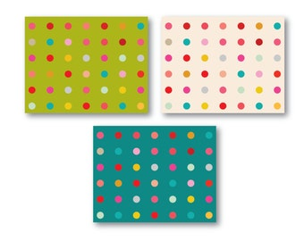 Colorful Dot Notecards: Set of Three with envelopes