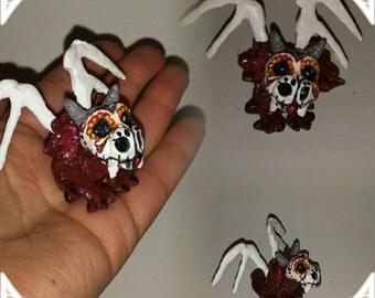 Day of the dead, Baby OOAK Fairy, Dragon, Miniature Dollhouse