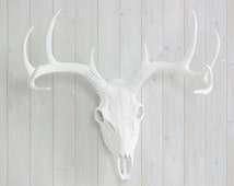 Deer Skull White Faux Animal Head by Wall Charmers™ - Fake Taxidermy Resin Antlers Mount Decor Fauxidermy Plastic Ceramic Mounted Decorative