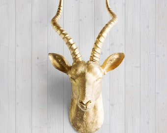 Faux Gold Antelope Head by Wall Charmers™ - Fake Ceramic Animal Decorative Resin Mounted Replica Taxidermy Plastic African Antler Mount