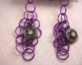 Chain Mail Earrings Purple Earrings Dangle Earrings Diamond Shape Earrings