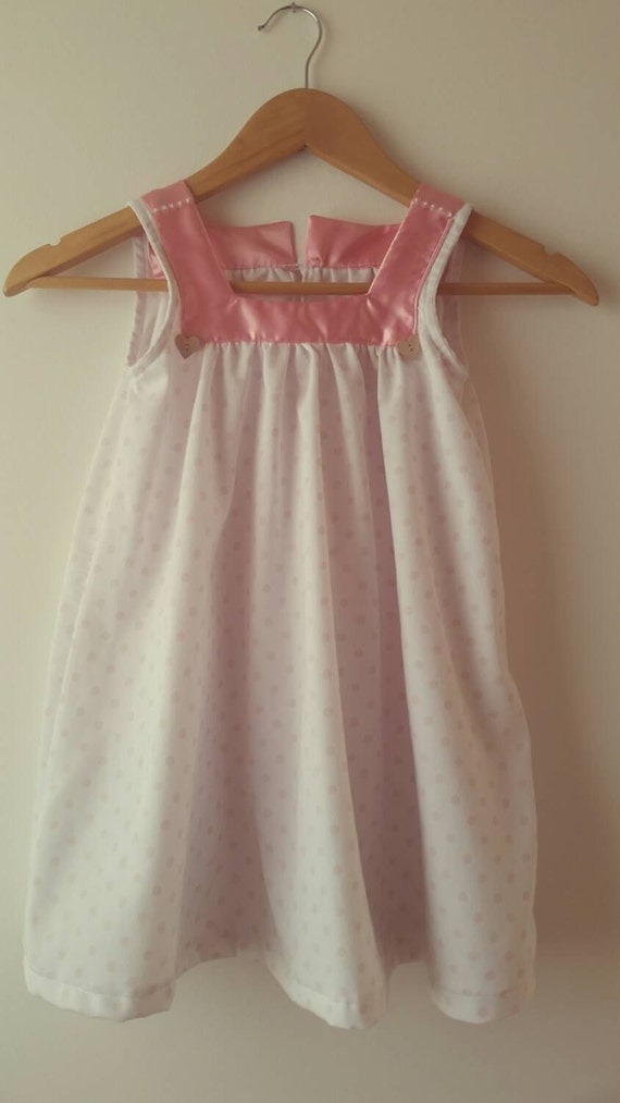 Toddler Dress,   100% Cotton Piquet, White and Pink Dress, Nice Summer Girl Dress, Italian Style,  Elegant Girl Dress. Vestitino in Cotone
