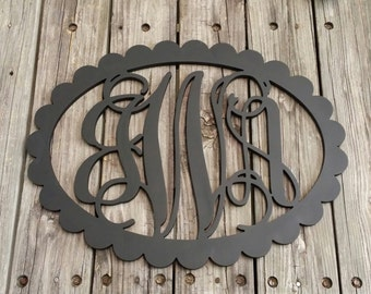 Painted Wooden Monogram with Scalloped Oval Border - Vine Script Monogram - Monogram Door Hanger - Monogram Gift - Nursery Monogram