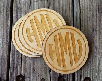 Monogram Wooden Coasters - Personalized Wooden Coasters - Wedding Gift - Housewarming Gift - Set of Four Wooden Monogram Coasters