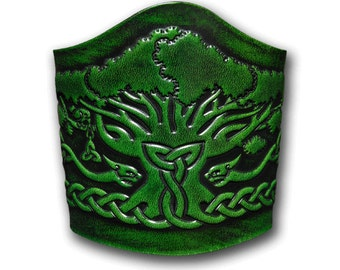Lace-up Leather Bracelet Wristband Cuff Embossed 90mm Celtic Tree of Life (6) Antique-green
