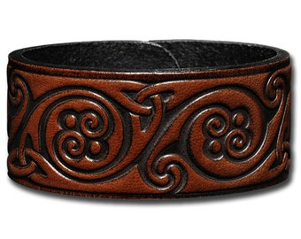 Leather Bracelet 32mm Celtic Spiral brown (4)