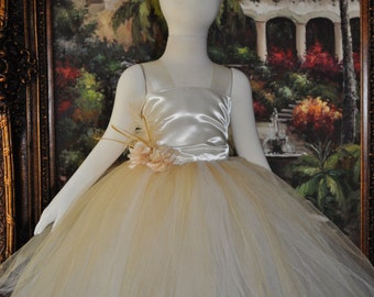 Special Occasion Dress, Flower Girl Dress, Girls Dress, Infant Dress, Toddler Dress, Baby Dress, Gold Dress, Ivory Gold Girls Dress