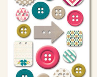 """SALE!!! Dorothy """"Celebrate"""" Decorative Buttons from My Mind's Eye's Now and Then Collection"""