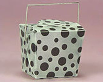 """1-3/4"""" x 2"""" x 2-1/2"""" Black Polka Dot Take Out Box - 6 Quantity"""