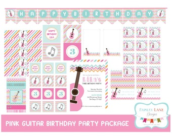 Pink Guitar Birthday Party Printable Package