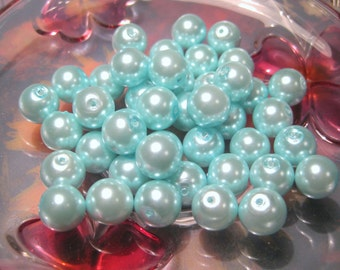 20pcs Blue Glass Pearl Beads 10mm Round, B-2