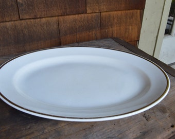 Gold Trimmed White Platter by National China.