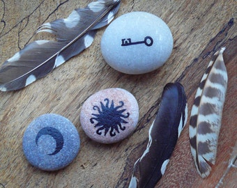 Hand Painted Pebbles - Sun, Moon and Key - MADE TO ORDER