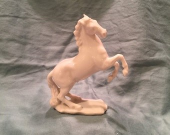 Hutschenreuther JHR G Granget White Porcelain Rearing Mustang Figurine. Lion Mark 1914 Small Glossy Porcelain Feisty Male Horse Figure.