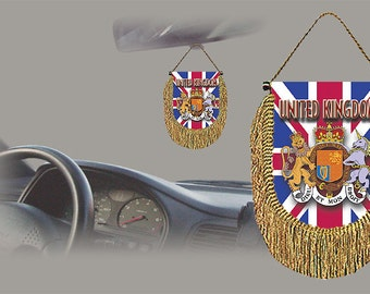 United Kingdom rear view mirror world flag car banner pennant