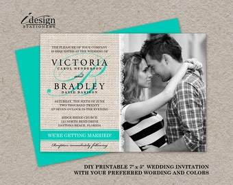 DIY Printable Rustic Turquoise Wedding Invitations, Photo Invitation With Burlap And Lace
