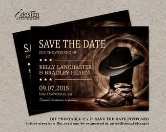 Country Western Wedding Save The Date With Cowboy Boots, DIY Printable Rodeo Themed Wedding Announcements, Wild West Save The Dates
