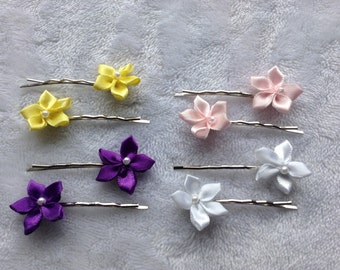 Mini satin flower hair pins (1 pair) - children - girls - women - adult - hair accessories - bobby pins - yellow, purple, pink, white