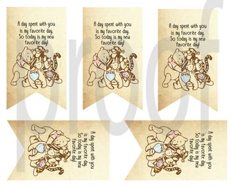 Classic Winnie The Pooh Gift Tags Digital File- You print at home!