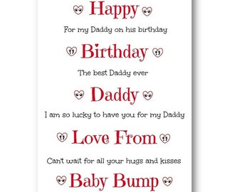 Personalised Birthday Card From The Bump - Personalized Birthday Card From The Bump - Daddy to be Card - Mummy to be Card, Nana from Bump