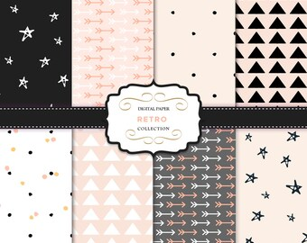 Arrow digital paper / Backgrounds blog / Digital pack / Scrapbooking pack / Retro Style / Printable / Holiday Clip Art / for invites