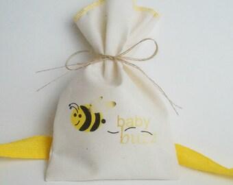 Muslin Favor Bag, Bee, Fabric Bag, 5 x 8, Baby Shower Favor Bag
