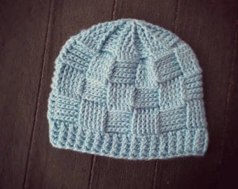 Handmade light blue colored basketweave patterned crochet hat (sized for child) - TO BE NAMED