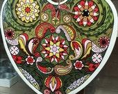Kaleidoscope Painting, Hippie Art, Heart Painting, Kaleidoscope Art, Wood Heart, 1970's Hippie Art, Hippie Gift, Hippie Mom Art