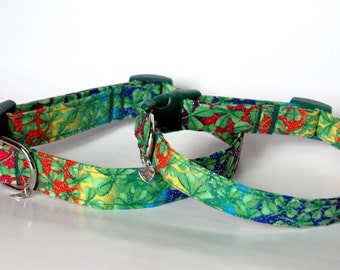 "Handmade Cool Multicolor St. Patrick's Day Clover Design Dog Collar ""New"""