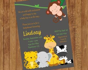 Baby Shower Invitation Animals / Printable Digital File
