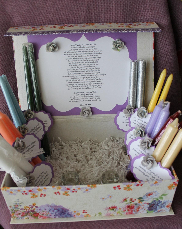 Wedding Shower Candle Poem Gift Set. Bridal candle basket.