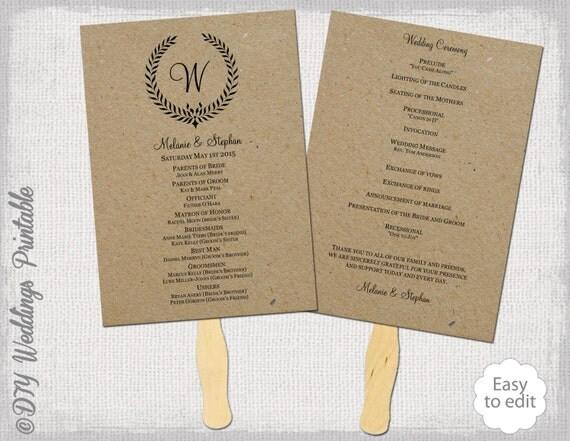 Rustic wedding fan program template leaf garland for Rustic wedding program fans