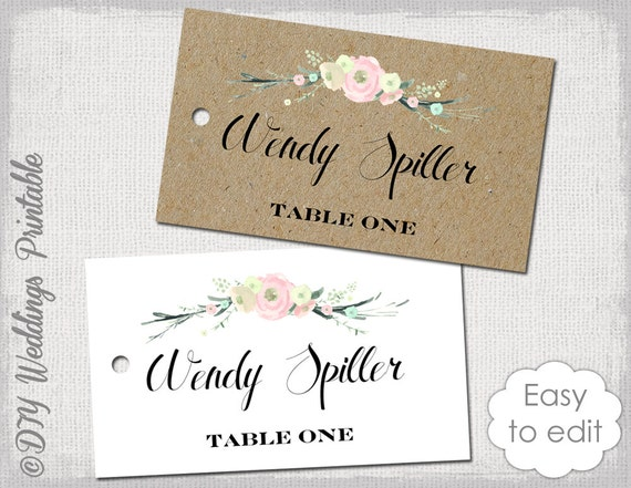 rustic name card template rustic flowers by diyweddingsprintable