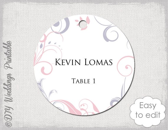 Wedding Favor Tags Word Template : Wedding favor tag template pink & gray