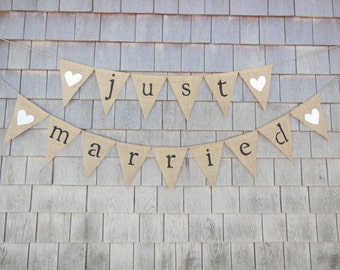 Just Married Banner, Just Married Bunting, Just Married Garland, Burlap Banner, Burlap Bunting, Rustic, Shower, Photo Prop, Wedding Decor