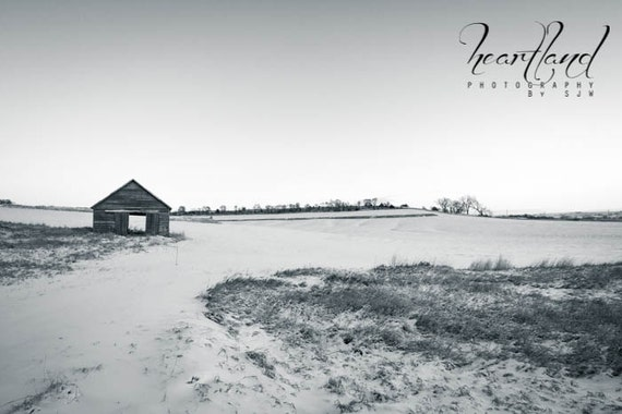 Farm Photography, Black and White, Snow Landscape, Winter Images, Old Barn Shed, Snowy Weather, Iowa Print, Midwest Photograph, Simple Decor