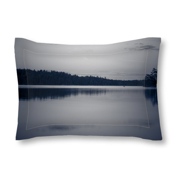 Pillow Sham, Black and White, Grey Bedding, Lake Photography, Standard Size, King Sized, Gray Bedroom, Boundary Waters, Minnesota Art