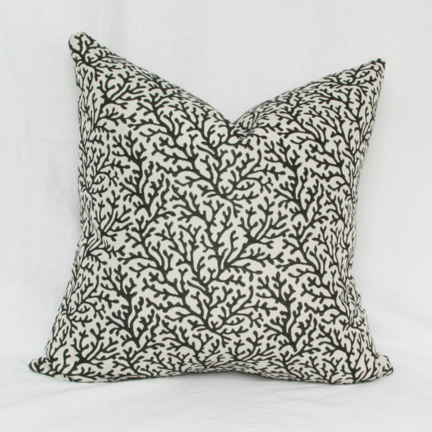 Dark Coral Throw Pillows : Items similar to Black & white coral reef decorative throw pillow cover. 18 x 18. 20 x 20. on Etsy