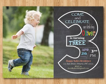 Chalkboard 3rd Birthday Invitation with Picture. Third Birthday Invite with Photo. Baby Boy or Girl Birthday Party. Printable Digital DIY