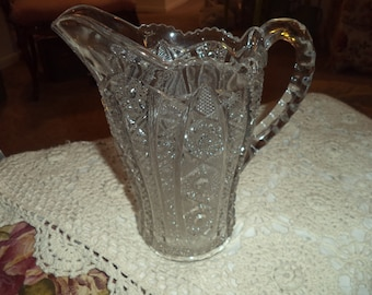 Large Cut Glass Pitcher/Etched, Heavy