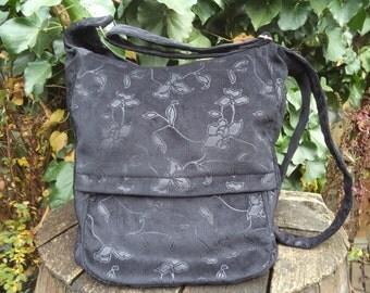 Black floral corduroy messenger bag,zippered big bag