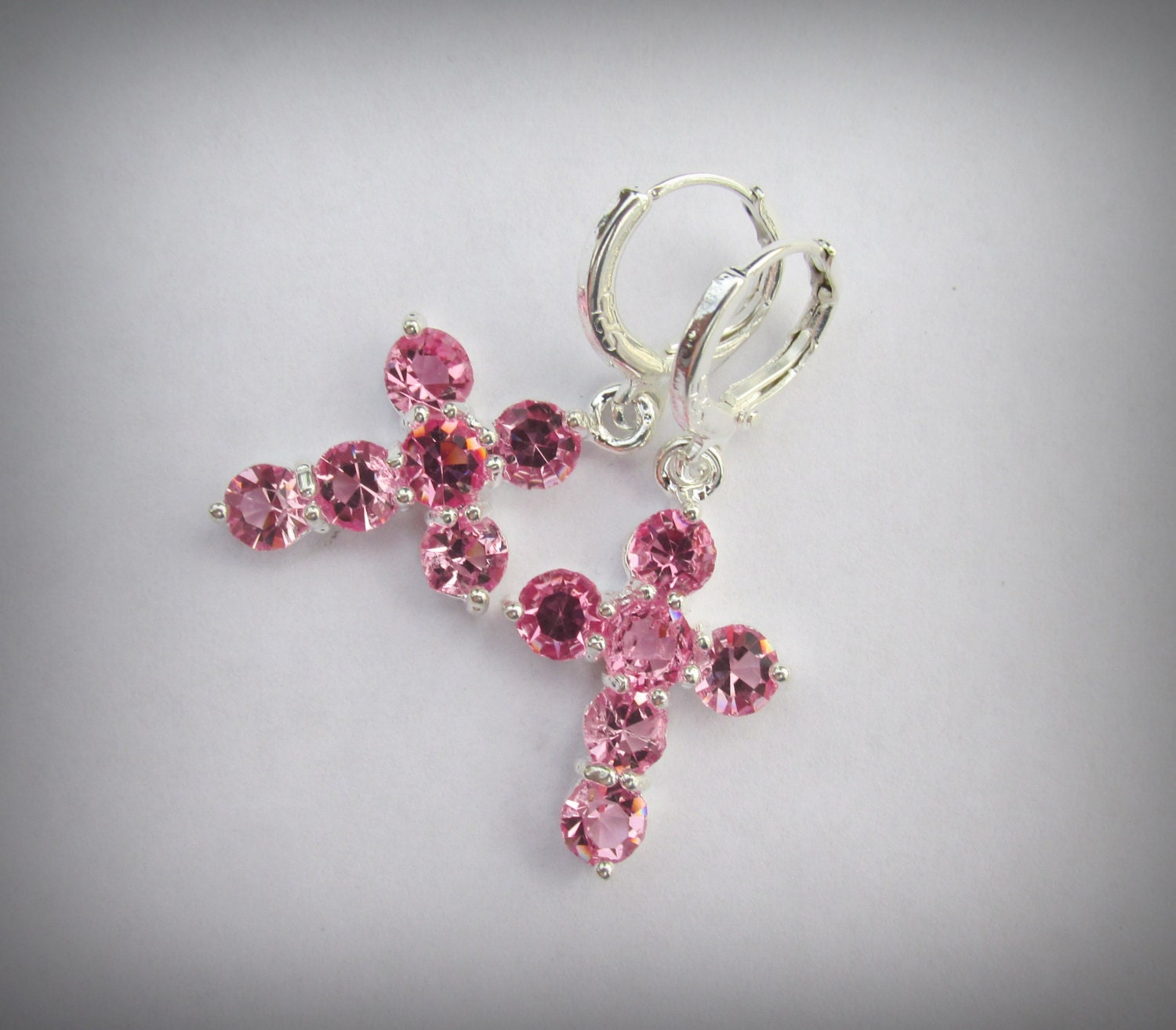 pink sparkle cross earrings pink shades religious prayer
