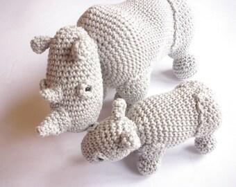 Rhino stuffed animals, Rhino plush, Crochet rhino, Rhino toys, Amigurumi crochet animals, Mother and baby